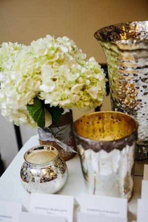 Mercury Glass and Hydrangea Reception Table Decor