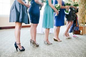Mismatched Blue Bridesmaids Dresses