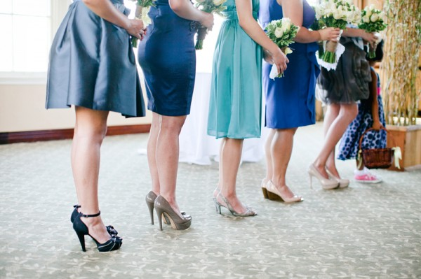 Mismatched Blue Bridesmaids Dresses