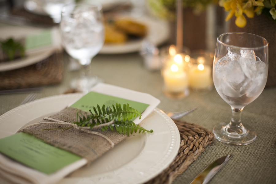 Natural burlap and sprig place setting