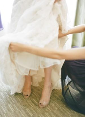 Nude Open Toe Wedding Pumps