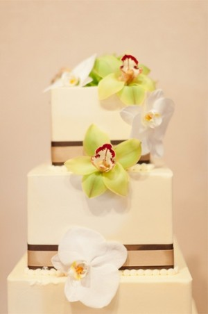 Orchids on Square Wedding Cake
