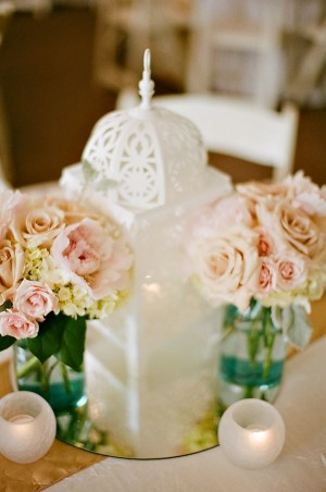 Pale Pink Rose and Mason Jar Reception Centerpiece 1