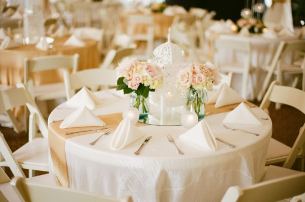 Pale pink rose and mason jar reception centerpiece