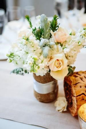 Pale Reception Table Flowers in Burlap Vase