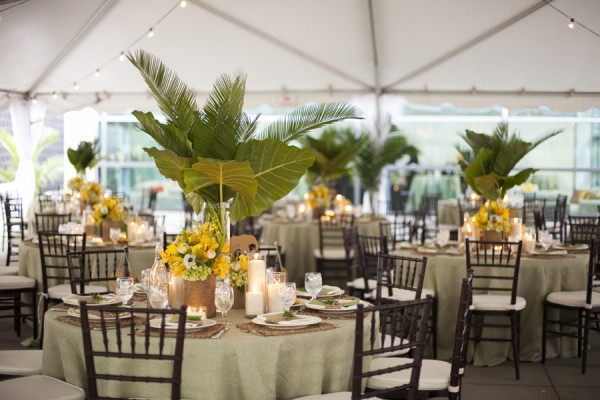 Palm and Yellow Floral Reception Centerpieces