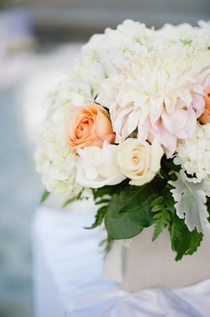 Peach Cream and White Reception Table Centerpiece