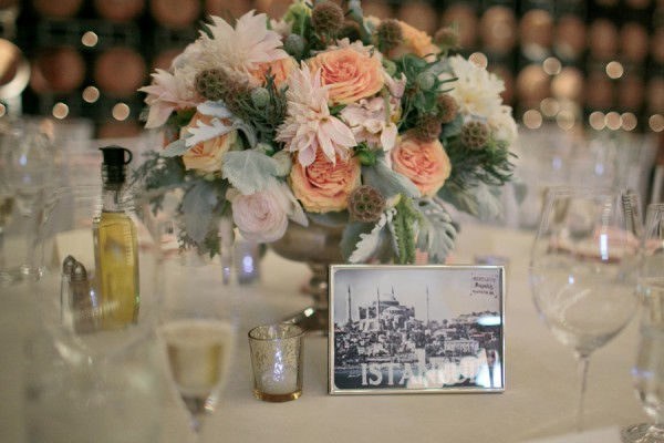 Peach Dalia and Peony Centerpiece With Cabbage Roses 1