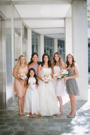 Peach Lavender and Taupe Bridesmaids Dresses