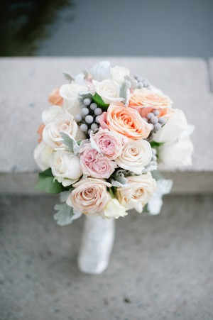 Peach Pink and Cream Rose Bouquet