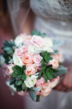 Peach Pink and Cream Rose Bouquet With Succulents