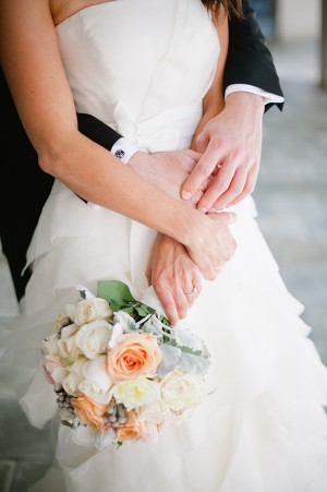Peach and Cream Rose Bridal Bouquet