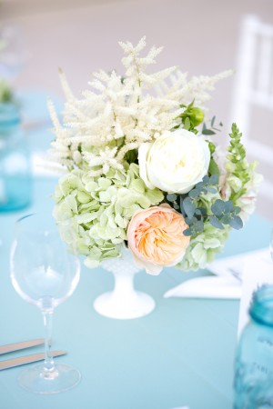 Peach and White Flowers with Greenery