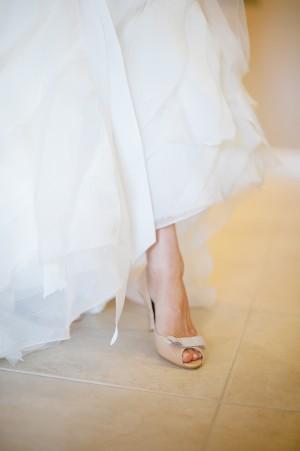 Peep Toe Taupe Bridal Shoes