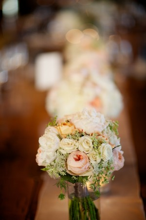 Pink Yellow and Cream Reception Table Centerpiece on Burlap