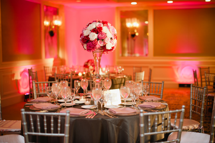 Pink and White Reception Centerpiece With Silver and Gray - wedding photos on beach