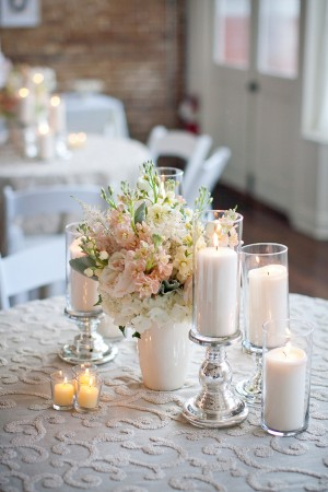 Pink and White Reception Table Centerpiece