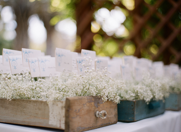 Place Cards in Wooden Drawers With Babys Breath
