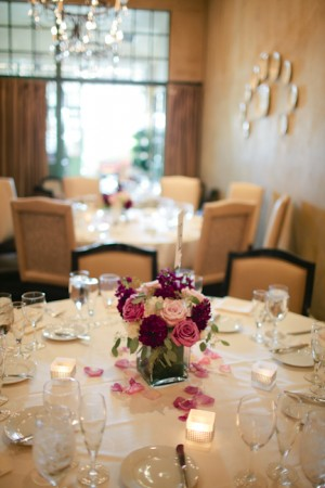 Purple and Pink Rose and Hydrangea Reception Centerpiece 1