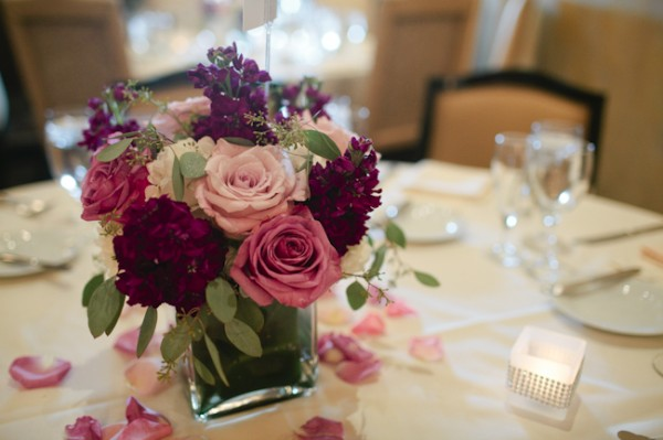 Purple and Pink Rose and Hydrangea Reception Centerpiece 2