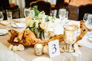Reception Centerpiece With Grape Wood and Mercury Glass