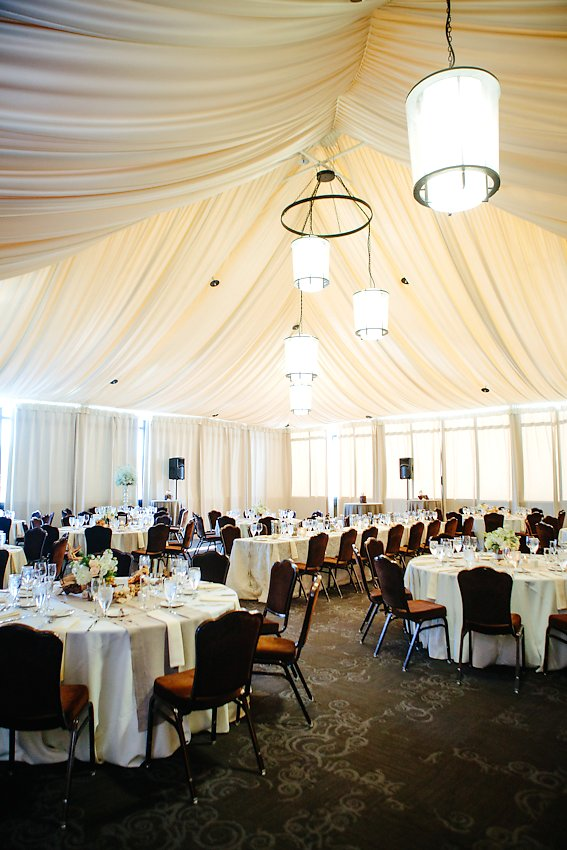 Reception Tent With Modern Chandeliers