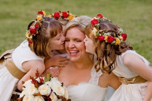 Red and Orange Rose Flower Girl Headpieces