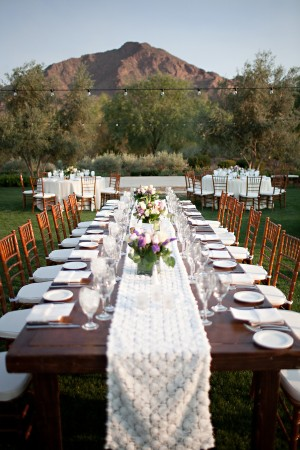 Rustic Outdoor Reception Table With Lace Runner 1