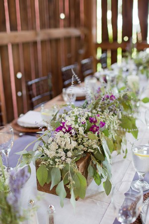 Rustic Wildflower Reception Table Centerpiece