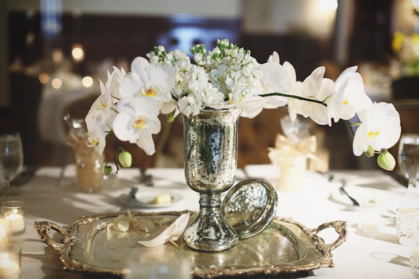 Silver Vase and Tray with White Orchid Bouquet