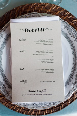 Simple Reception Menu Card