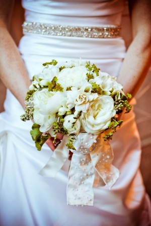 Simple White and Green Bridal Bouquet