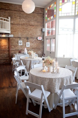 Simple White and Pink Reception Tables