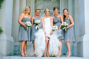 Slate Colored Bridesmaids Dresses