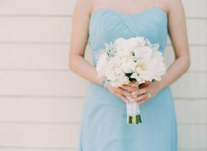 Strapless Blue Bridesmaids Dress With White Rose Bouquet