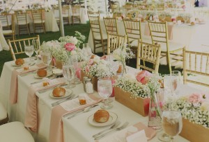 Tabletop with Wooden Boxes of Pink Garden Roses