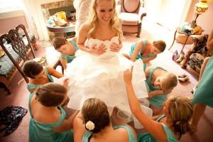 Tea Length Teal Bridesmaids Dresses