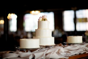 Three Tier Round Wedding Cake With Pink Flowers