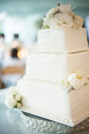 Three Tier Square Wedding Cake With Roses