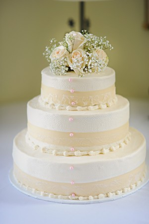 Wedding Cake with Peach Accents