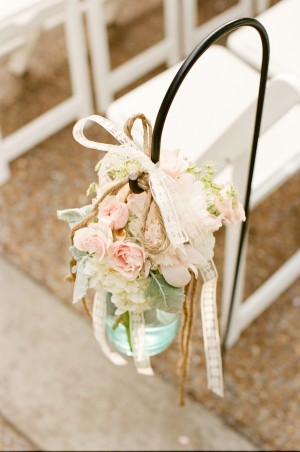 Wedding Chair Flowers in Mason Jar With Twine and Lace