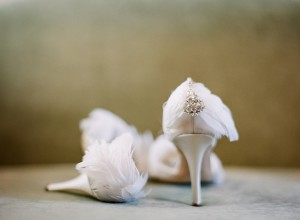 Wedding Shoes With Feather and Jewel Heels