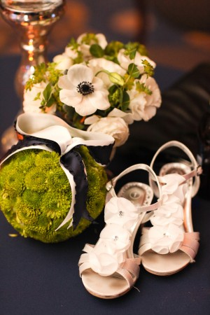 Wedding Shoes With White Flowers