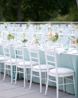White Chairs and Blue Tablecloths