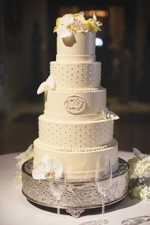 White Five Layer Wedding Cake
