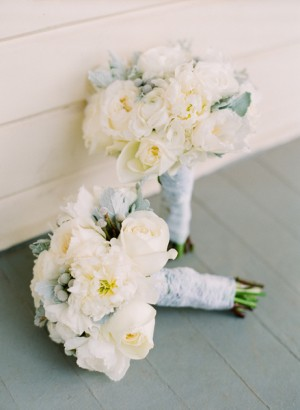 White Rose and Blue Bouquets