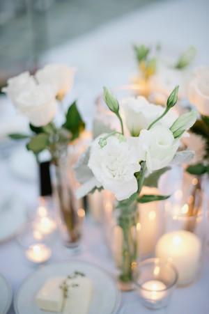 White Roses in Tall Glass Vases 1