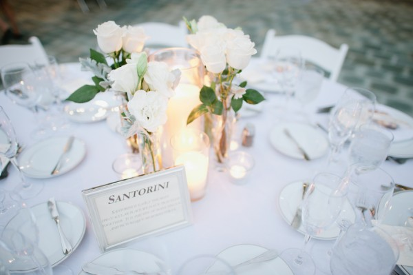 White Roses in Tall Glass Vases