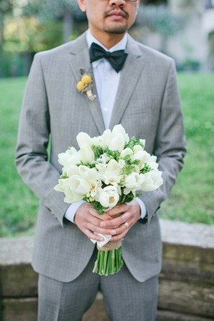 White Tulip Wedding Bouquet 1
