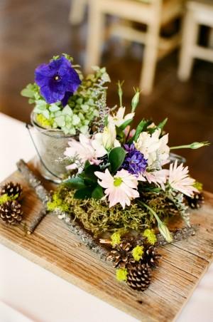 Wildflower Centerpiece on Wooden Board